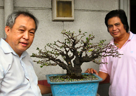 Teddy Lim and Leo de Leon with the styled bonsai